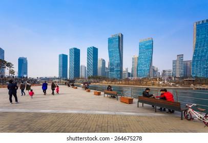 Songdo,South Korea - March 08, 2015: Songdo Central Park in Songdo International Business District, Incheon South Korea.