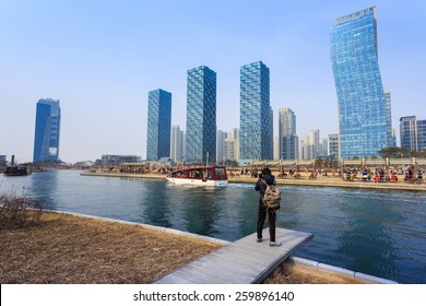 Songdo,South Korea - March 09, 2015: Songdo Central Park in Songdo International Business District, Incheon South Korea.
