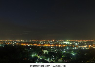 Songkhla city lights at dusk on the view point
