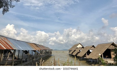 Songkhla lake, Thailand - JAN2018. Lakeside view with wooden huts.
