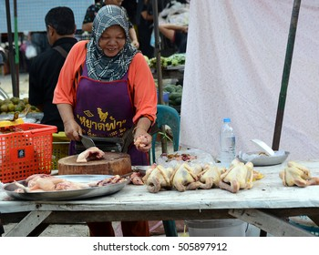 Songkhla, THAILAND - 15 October, 2016: street food stall in Songkhla. vendor, in a street or other public place