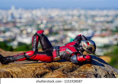 Songkhla, Thailand - August 7, 2018: Ant man Sleeping comfortably on the mountain., relax time