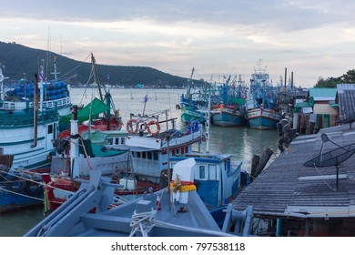 Songkhla, Thailand - January 7, 2018: Fishery ship park at fishery ship port in Muang Distric of Songkhla, Thailand.