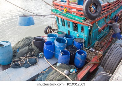 Songkhla, Thailand - January 8, 2018: Blue bucket fullfill with drinking water load in fising vessel park at harbour in Muang Distric of Songkhla, Thailand.