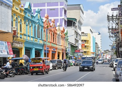 SONGKHLA, THAILAND - MARCH 04, 2016 : Old historic houses, which are painted in colors, on the old street in Hat Yai of Songkhla province. The culture of this city is mainly influenced by Malay.