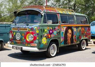 "SONGKHLA, THAILAND - May 02 :Hippie Volkswagen Kombi Meeting in ""VW SONGKHLA AIR COOLED GATHERING SEASON 3"" at Singhanakhon beach on May 02,2015 in Songkhla, Thailand."