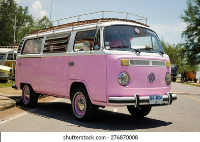 "SONGKHLA, THAILAND - May 02 :Hippie Volkswagen Kombi Meeting in ""VW SONGKHLA AIR COOLED GATHERING SEASON 3"" at Singhanakhon beach on May 02,2015 in Songkhla, Thailand."