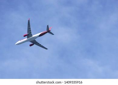 Songkhla, Thailand, May 22, 2019: Thai lion air Airbus A330-343 HS-LAJ passenger plane forward to Hatyai International Airport, Thailand.