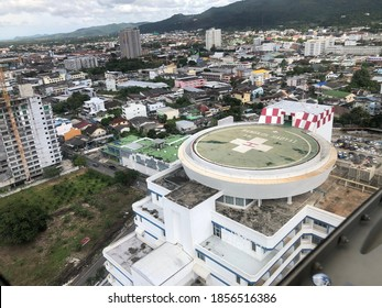 Songkhla, Thailand - November 18,2020- Hospital rooftop of Bangkok Hatyai Hospital for Medical Evacuation Helicopter Emergency Medical or helicopter medical evacuation. Transport patient from offshore