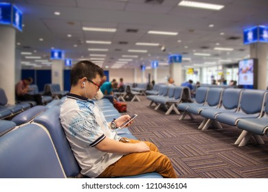 SONGKHLA, THAILAND - OCTOBER 05, 2018: People in waiting room at the main terminal of Hatyai International Airport, Songkhla, Thailand.