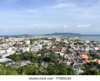 SONGKHLA,THAILAND 7 August 2017:Songkhla City Travel Top view from Tang Kuan Mountain in South Thailand