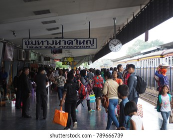 Songkhla,Thailand-January 03 2018 :People are waiting for the train at Hat Yai Junction.Songkla,Thailand