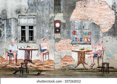 SONGKLA ,THAILAND- CIRCA November 02, 2015: Public street art Chinese people coffee breakfast 3D on the wall that's  talk and discuss in Songkla ,Thailand.