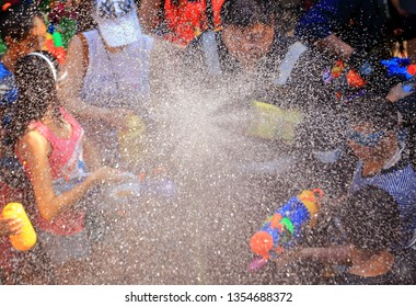 Songkran festival celebrating the traditional Thai New Year, held in April and marked by the throwing and sprinkling of water.