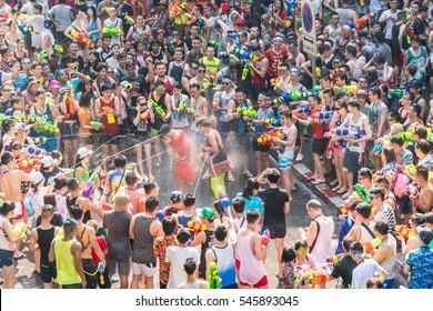 Songkran Festival in Silom, Bangkok, Thailand - 04/13/2016