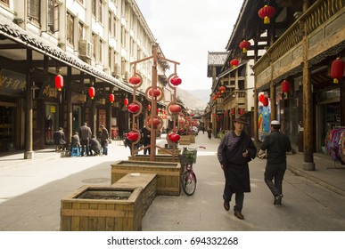 SONGPAN, CHINA - April, 2016: Central street of Songpan ancient town, everyday life of local people in Songpan, China, Sichuan province