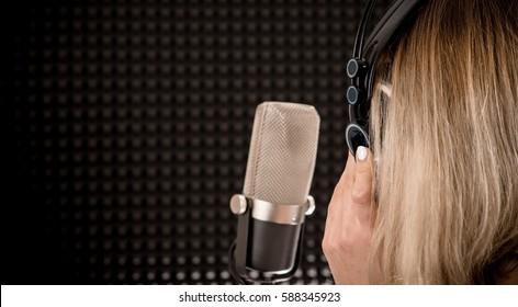 Songs Recording. Audio Recording in the Studio. Show Business Conceptual Photo.