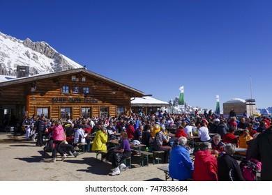 Sonn Alpin mountain restaurant at the Zugspitze Zugspitze, Wettersteingebirge, Werdenfels, Upper Bavaria, Bavaria, Germany, Europe, 13. March 2014