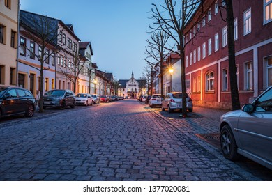SONNEBERG, GERMANY - CIRCA APRIL, 2019:  Streets of Sonneberg town in the evening, Thuringia, Germany