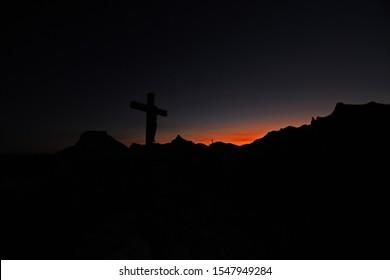 Sonnstein summit cross in the morning red