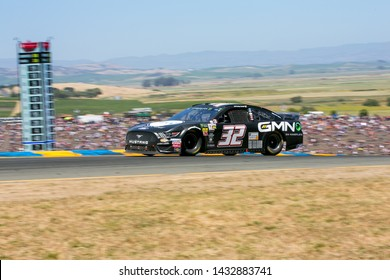 SONOMA, CALIFORNIA - JUNE 23, 2019: Corey LaJoie at the Toyota/Save Mart 350 at Sonoma Raceway. LaJoie finished 32nd. Martin Truex, Jr., won the race, holding off Kyle Busch in the last laps.