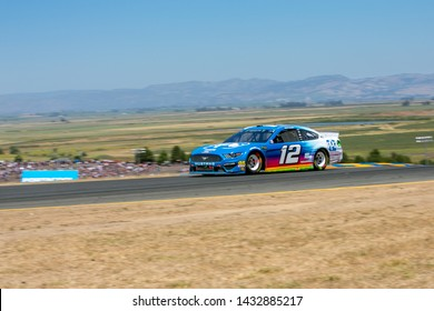 SONOMA, CALIFORNIA - JUNE 23, 2019: Ryan Blaney at the Toyota/Save Mart 350 at Sonoma Raceway. Blaney finished 3rd. Martin Truex, Jr., won the race, holding off Kyle Busch in the last laps.