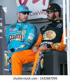 SONOMA, CALIFORNIA - JUNE 23, 2019: Kyle Busch (left) and Martin Truex, Jr., talk before the Toyota/Save Mart 350 at Sonoma Raceway. Truex won the race, holding off Busch, who finished second.