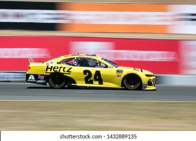 SONOMA, CALIFORNIA - JUNE 23, 2019: William Byron in his Hertz Chevrolet at the Toyota/Save Mart 350 at Sonoma Raceway. Byron finished 27th. Martin Truex, Jr., won the race.