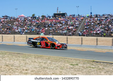 SONOMA, CALIFORNIA - JUNE 23, 2019: Martin Truex, Jr., at the Toyota/Save Mart 350 at Sonoma Raceway. Byron finished 27th. Martin Truex, Jr., won the race, holding off Kyle Busch in the last laps.