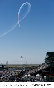 SONOMA, CALIFORNIA - JUNE 23, 2019: The Patriots Jet Demonstraton Team Air Show before the start of the Toyota/Save Mart 350 at Sonoma Raceway.