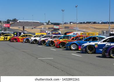 SONOMA, CALIFORNIA - JUNE 23, 2019: Nascar racecars on display before the start of the Toyota/Save Mart 350 at Sonoma Raceway.