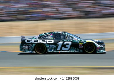 SONOMA, CALIFORNIA - JUNE 23, 2019: Ty Dillon at the Toyota/Save Mart 350 at Sonoma Raceway. Martin Truex, Jr., won the race.