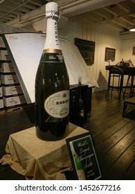 Sonoma, California, USA / July 13, 2019: Korbel Winery. Champagne Cellars. Established by Bohemia-born Francis Korbel and his brothers. Largest bottle in the world, 120 liters.