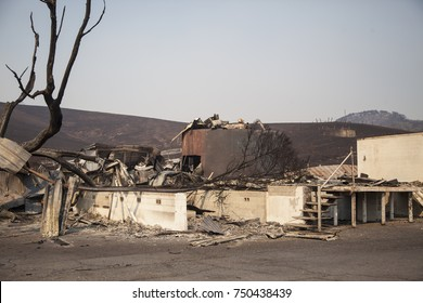 SONOMA, CALIFORNIA/ USA - OCT 16, 2017: Burned remains of the 100-year-old Stornetta Dairy complex, east of Sonoma. Fires in California have burned over 220,000 acres and destroyed 5700 structures.
