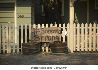 SONOMA, CALIFORNIA/ USA - OCTOBER 14, 2017: Homemade #SonomaStrong sign on a fence in Boyes Hot Springs neighborhood. Fires in California have burned over 220,000 acres and destroyed 5700 structures.