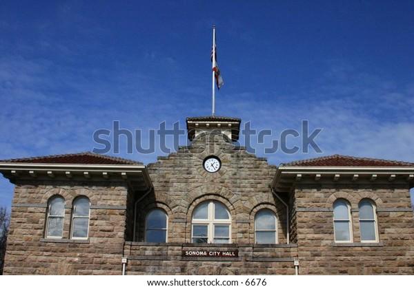 Sonoma City Hall - brick building with paned windows
