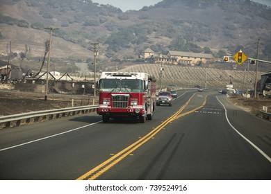 SONOMA COUNTY, CALIFORNIA/ USA - OCTOBER 14, 2017: A fire truck drives past the Stornetta dairy ruins. Fires in California have burned over 220,000 acres and destroyed 5700 structures.