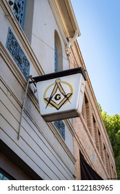 SONORA, CA/U.S.A. - JUNE 11, 2018: A photo of the Masonic Lodge sign in the old downtown of Sonora, located in the Mother Lode part of California.