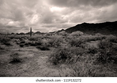 Sonora desert and San Tan mountains in Infrared central Arizona USA