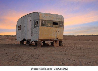 SONORA, MEXICO - December 10, 2015: Abandoned Mobile Home in Sonora Desert at Sunset.