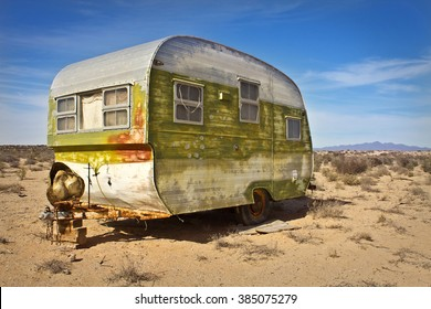 SONORA, MEXICO - March 2, 2016: Abandoned Mobile Home in Sonora Desert.