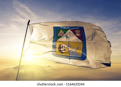 Sonora state of Mexico flag textile cloth fabric waving on the top