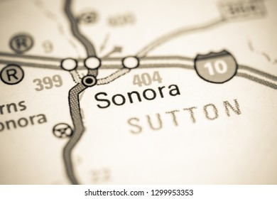 Sonora. Texas. USA on a map