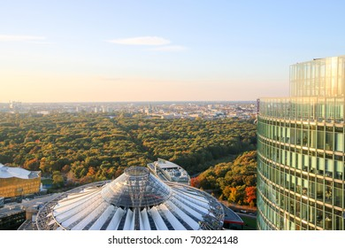 sony center Gate in Berlin at sunrise, Germany