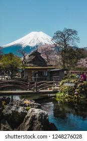 SONY Oshino Hakkai/ Japan - April 15th 2016: beautiful view of Fuji Mountain from Oshino Hakkai the small village in Fuji Five Lakes region, one of the famous tourist destination