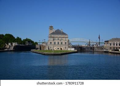 Soo Locks, Sault Ste Marie, MI Bridge to Canada only open to essential workers.