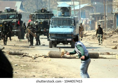 Soon after the funeral of Kashmiri Rebel Syed Owais Shafi was held hunderd of youths pelted stones on government forces,which triggered clashes on 12,March,2018 at Vailoo area of Anantnag district