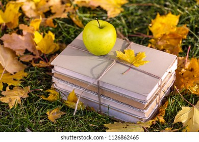 soon to school. concept of teaching and education. books and an apple lie on the grass in a yellow foliage