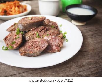 Soondae sausage with makgeolli Korean food