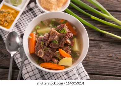 sop buntut or oxtail soup. indonesian traditional culinary